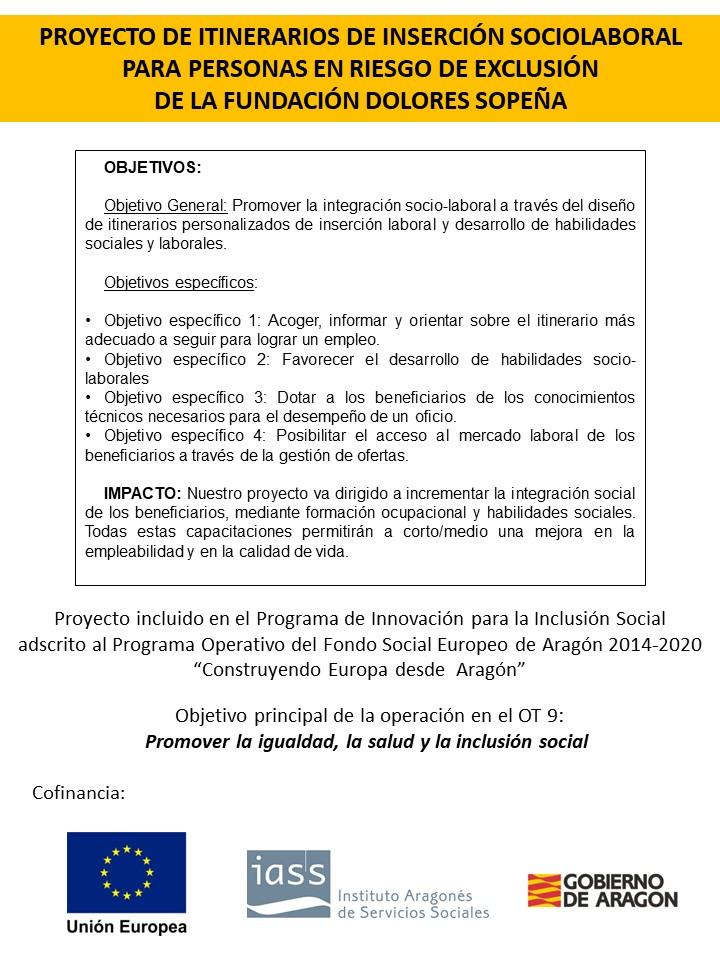 Proyecto de itinerarios  de inserción sociolaboral para personas en riesgo de exclusión
