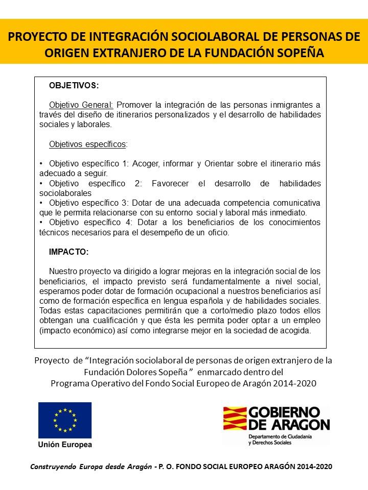 Proyecto de Integración Sociolaboral de personas de origen extranjero