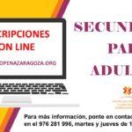 Inscripciones Secundaria para Adultos curso 2020/2021